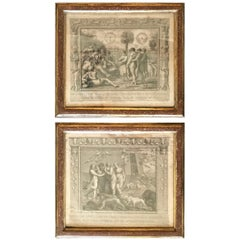 Pair of Engravings in 18th Century Faux Porphyry and Gilt Frames