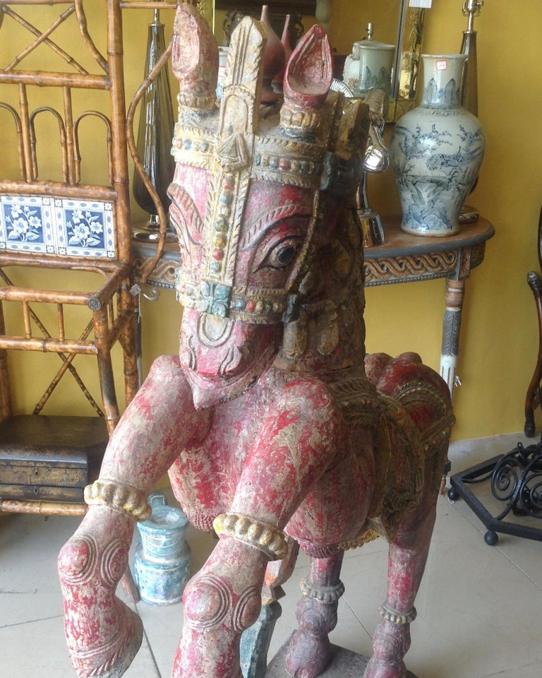 Pair of Enormous Rajasthani Carved Rearing Horses For Sale 5
