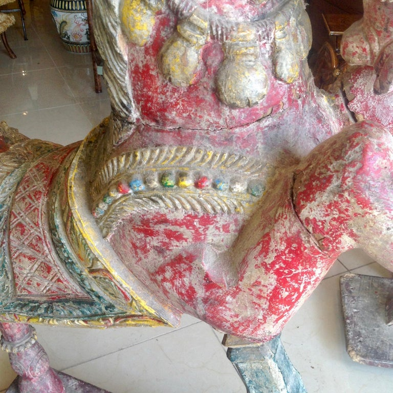 Pair of Enormous Rajasthani Carved Rearing Horses For Sale 7