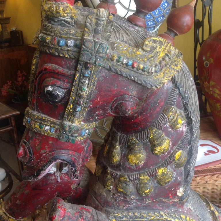 Pair of Enormous Rajasthani Carved Rearing Horses For Sale 10