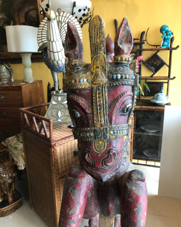 Pair of Enormous Rajasthani Carved Rearing Horses For Sale 11