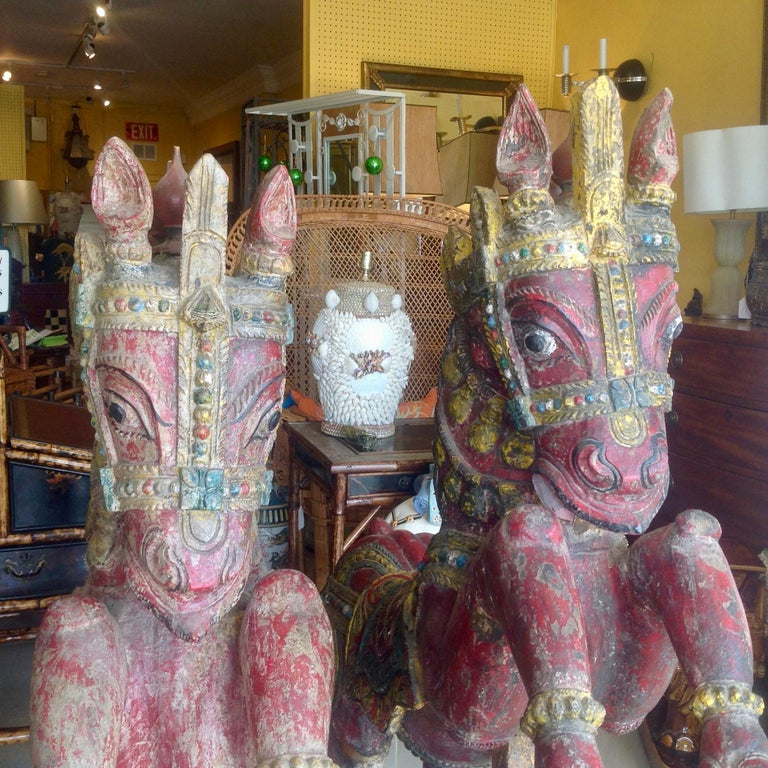 Indian Pair of Enormous Rajasthani Carved Rearing Horses For Sale