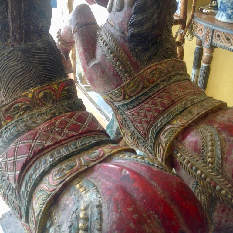 Pair of Enormous Rajasthani Carved Rearing Horses In Good Condition For Sale In West Palm Beach, FL