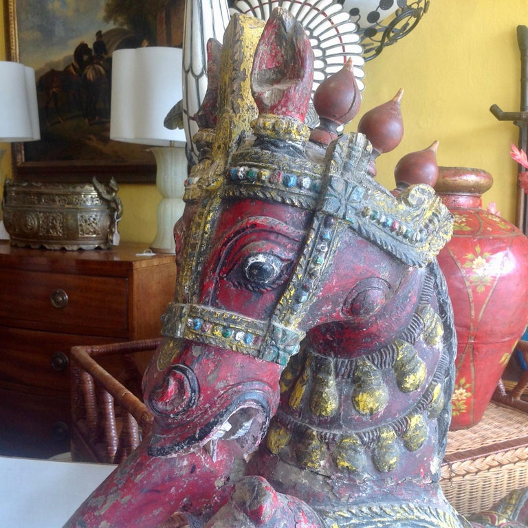 Wood Pair of Enormous Rajasthani Carved Rearing Horses For Sale