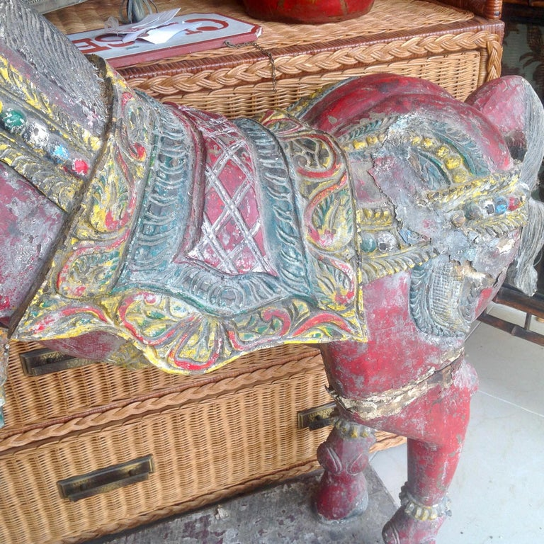 Pair of Enormous Rajasthani Carved Rearing Horses For Sale 1