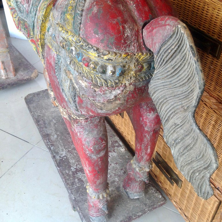 Pair of Enormous Rajasthani Carved Rearing Horses For Sale 2