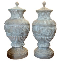 Pair of Enormous Bronze Urns
