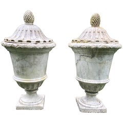 Pair of Enormous Covered Marble Urns from Oprah Winfrey's Personal Collection