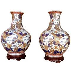 Pair of Enormous Imari Vases