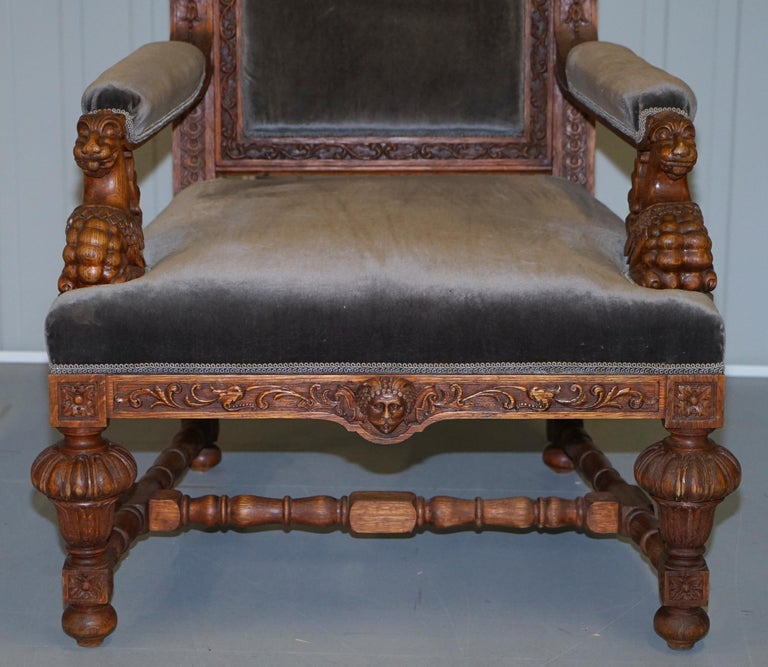 Pair of Enormous Victorian Jacobean Revival Cherub Putti Carved Throne Armchairs For Sale 4