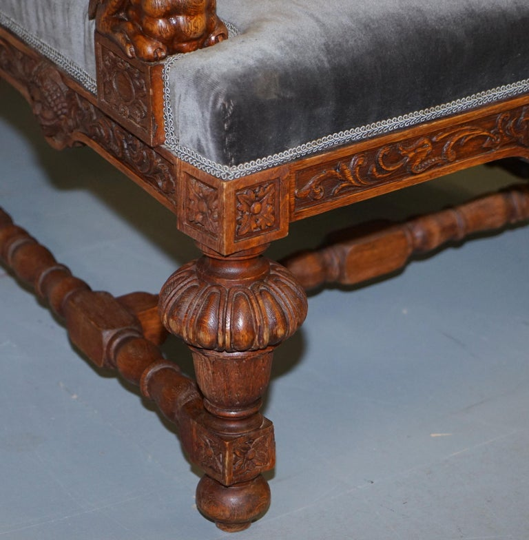 Pair of Enormous Victorian Jacobean Revival Cherub Putti Carved Throne Armchairs For Sale 5