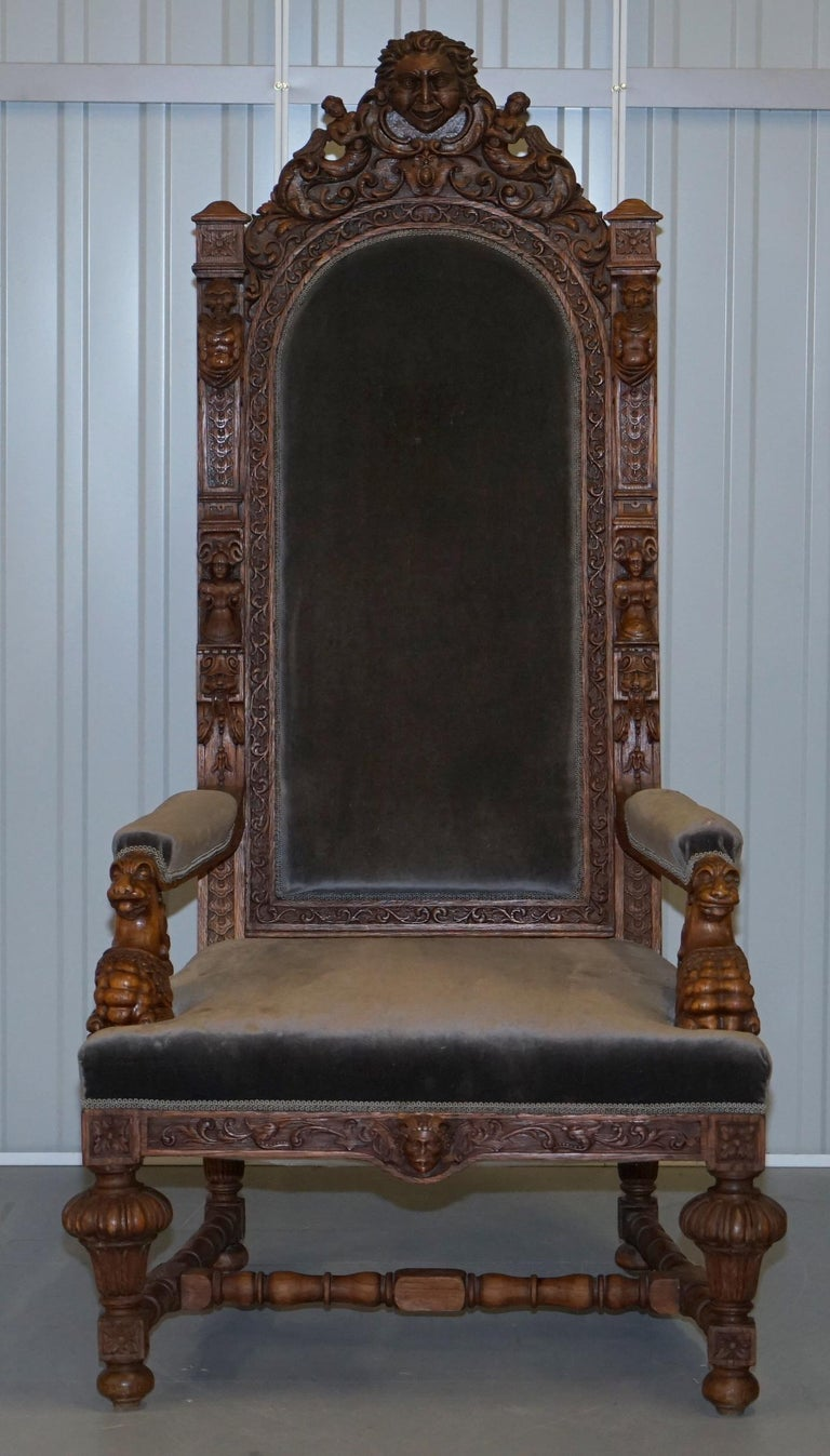 Pair of Enormous Victorian Jacobean Revival Cherub Putti Carved Throne Armchairs For Sale 9