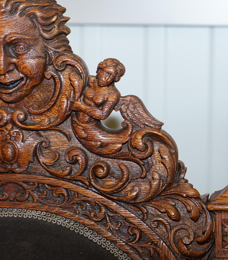 Pair of Enormous Victorian Jacobean Revival Cherub Putti Carved Throne Armchairs For Sale 10