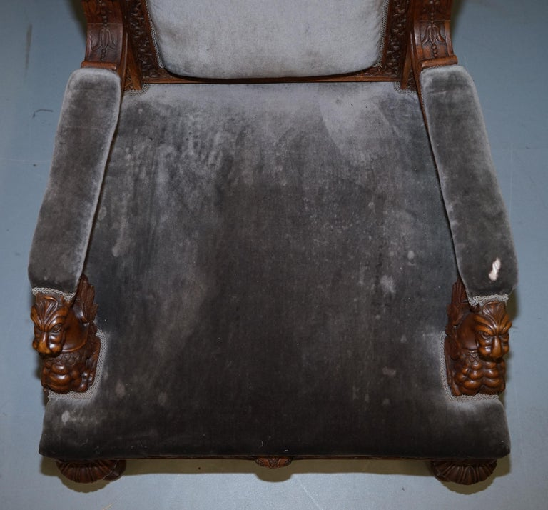 Pair of Enormous Victorian Jacobean Revival Cherub Putti Carved Throne Armchairs For Sale 11