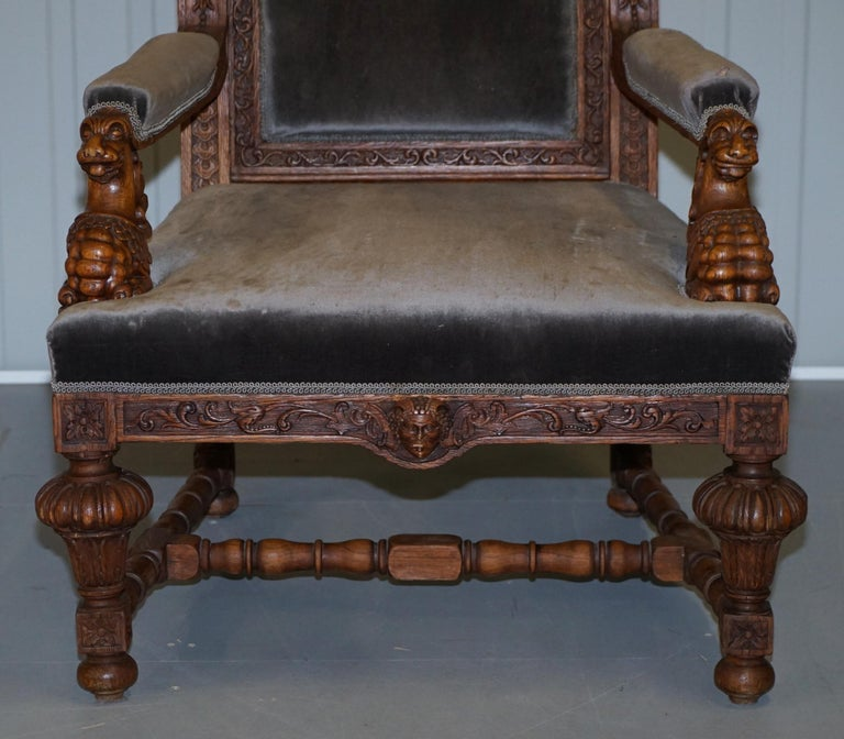 Pair of Enormous Victorian Jacobean Revival Cherub Putti Carved Throne Armchairs For Sale 13