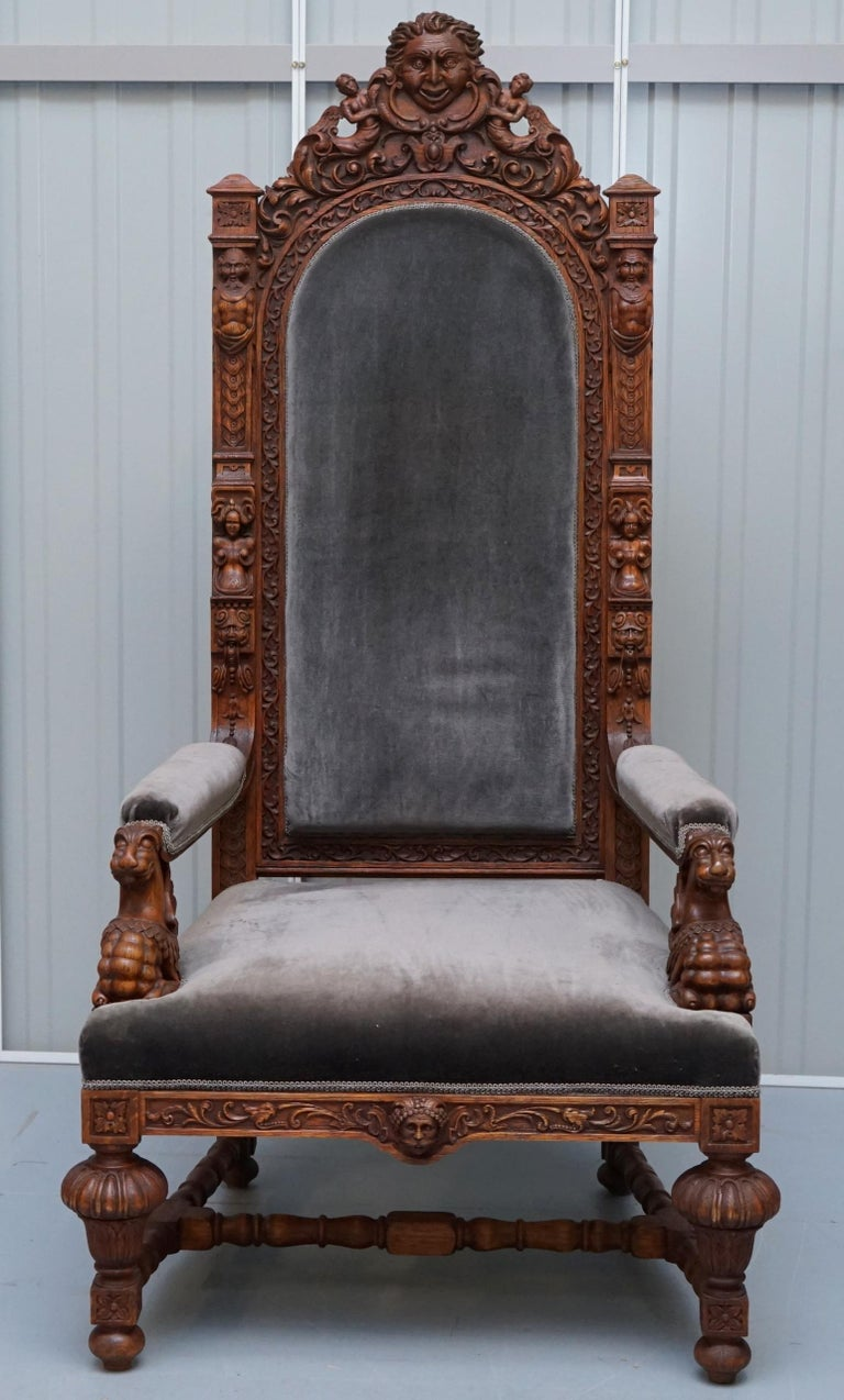 Hand-Crafted Pair of Enormous Victorian Jacobean Revival Cherub Putti Carved Throne Armchairs For Sale