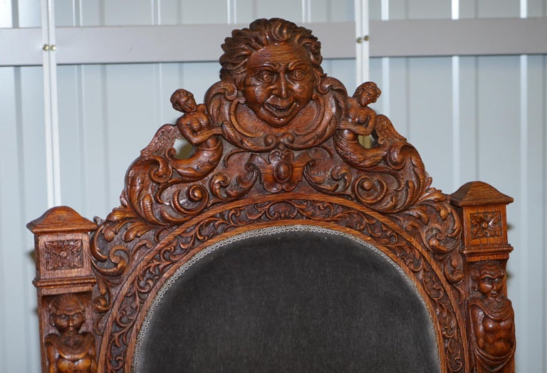 Pair of Enormous Victorian Jacobean Revival Cherub Putti Carved Throne Armchairs In Good Condition For Sale In London, GB