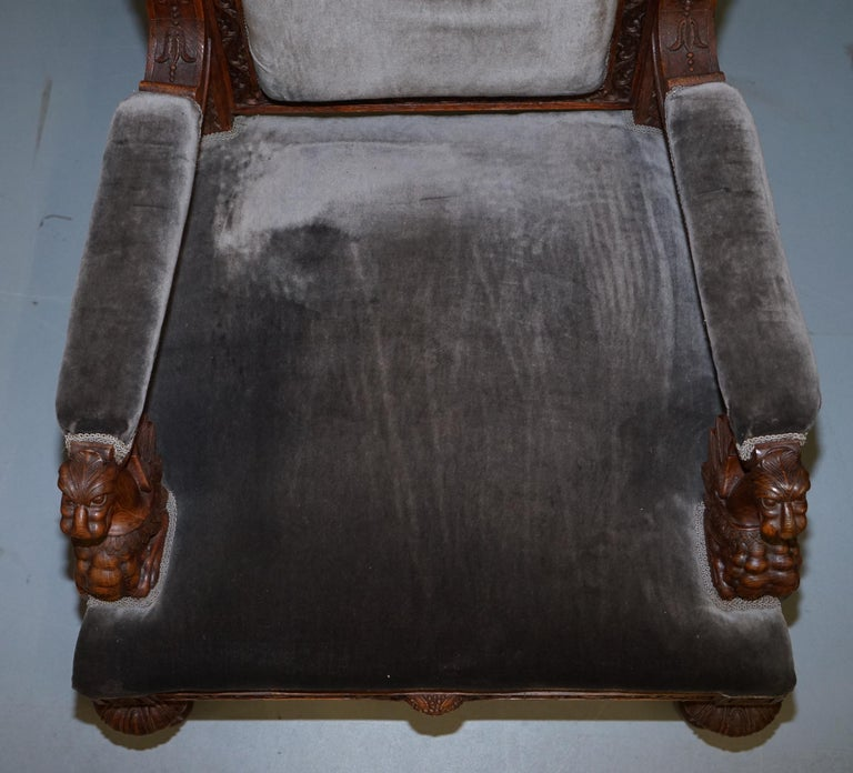 Pair of Enormous Victorian Jacobean Revival Cherub Putti Carved Throne Armchairs For Sale 2