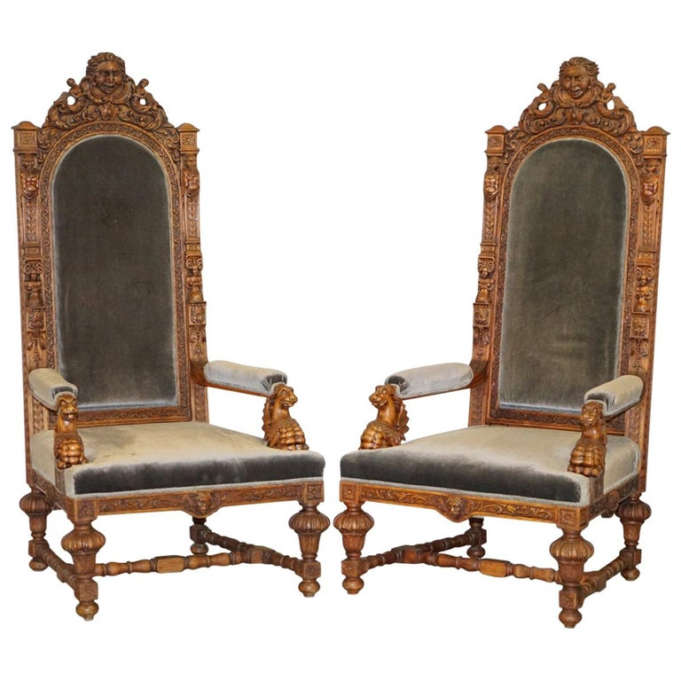 Pair of Enormous Victorian Jacobean Revival Cherub Putti Carved Throne Armchairs For Sale