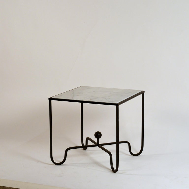 Modern Pair of 'Entretoise' Wrought Iron and Honed Marble Side Tables by Design Frères For Sale