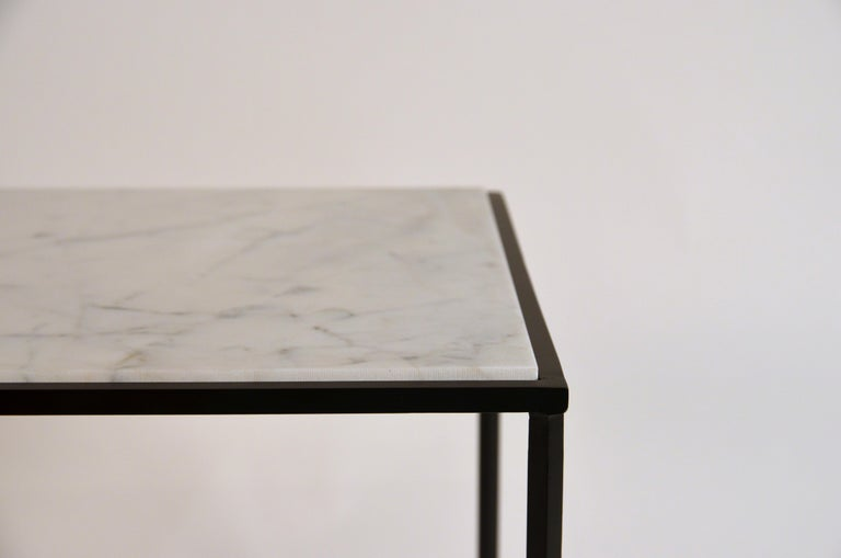 Blackened Pair of 'Entretoise' Wrought Iron and Honed Marble Side Tables by Design Frères For Sale