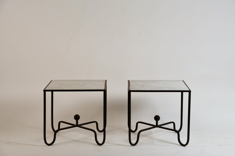 Contemporary Pair of 'Entretoise' Wrought Iron and Honed Marble Side Tables by Design Frères For Sale
