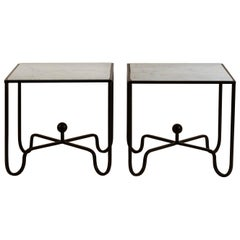 Pair of 'Entretoise' Wrought Iron and Honed Marble Side Tables by Design Frères