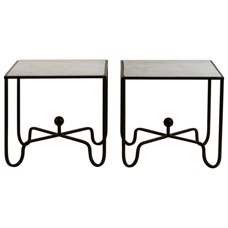 Pair of 'Entretoise' Wrought Iron and Honed Marble Side Tables by Design Frères For Sale