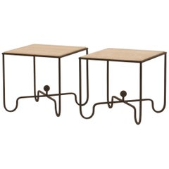 Pair of 'Entretoise' Wrought Iron and Onyx Side Tables by Design Frères