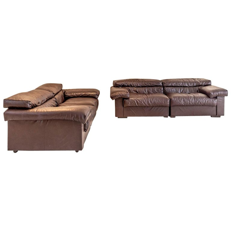 """Pair of """"Erasmo"""" Leather Sofas by Afra & Tobia Scarpa for B&B For Sale"""