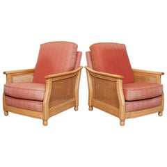 Pair of Ercol Armchairs Bergère 2 Lounge Chairs Cane