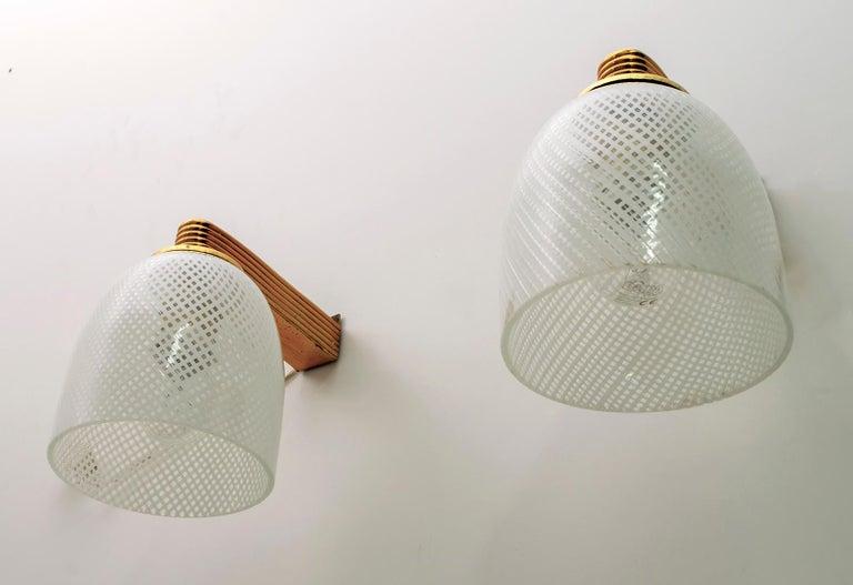 Brass Pair of Ercole Barovier Art Deco Murano Glass