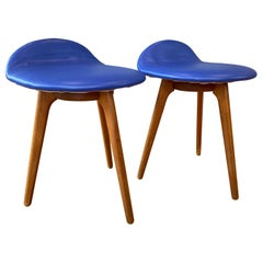 Pair of Erik Buch for Oddense Maskinsnedkeri Teak & Leather Lounge Stools, 1960s