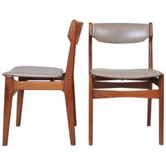 Pair of Erik Buch Teak Chairs, New Leather Upholstery