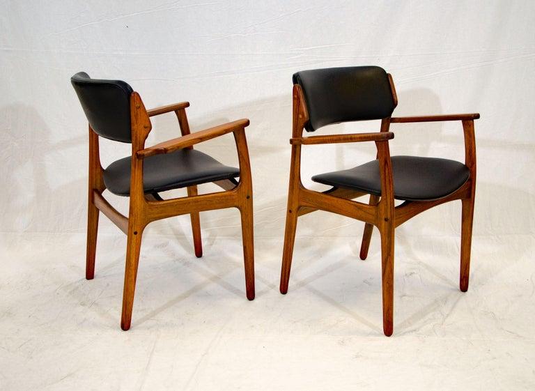 Danish Pair of Erik Buck (Buch) Arm Chairs, Office Chairs