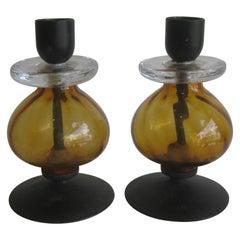 Pair of Erik Hoglund for Kosta Boda Wrought Iron & Art Glass Candleholders
