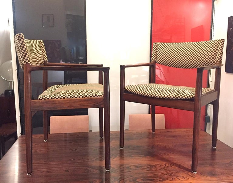 Scandinavian Modern Pair of Erik Worts Brazilian Rosewood Midcentury Armchairs, 1960 For Sale