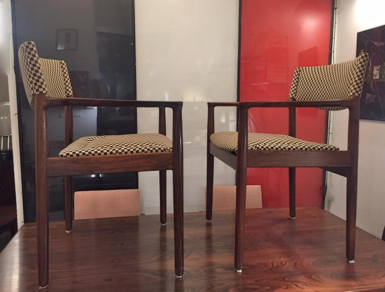 Danish Pair of Erik Worts Brazilian Rosewood Midcentury Armchairs, 1960 For Sale