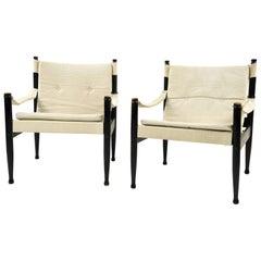 Pair of Erik Wørts for Niels Eilersen Model 30 Safari Chairs
