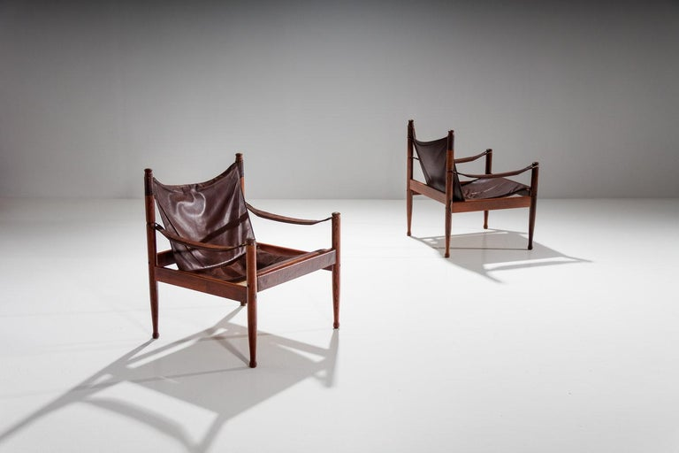 Pair of rosewood safari chairs designed by Erik Wørts manufactured by Eilersen, Denmark 1960s