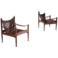 Pair of Erik Wørts Safari Chairs in Dark Brown Leather, Denmark, 1960s