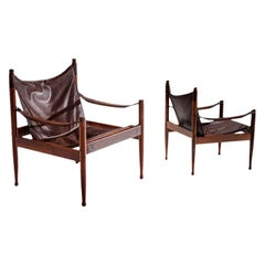 Pair of Erik Wørts Safari Chairs in Dark Brown Leather, Denmark, 1960s