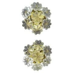 Pair of Ernst Palme floral Glassflower Sconces/Fixtures/Wall Lamps
