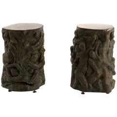 Pair of Eros Bronze Side Tables by Philip Kelvin LaVerne, circa 1970
