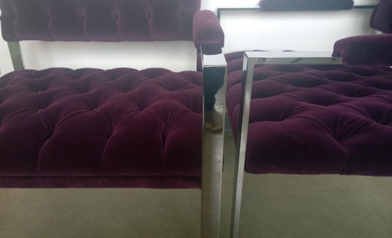 Pair of Erwin-Lambeth Chrome and New Deep Purple Velvet Tufted Arm Lounge Chairs For Sale 9
