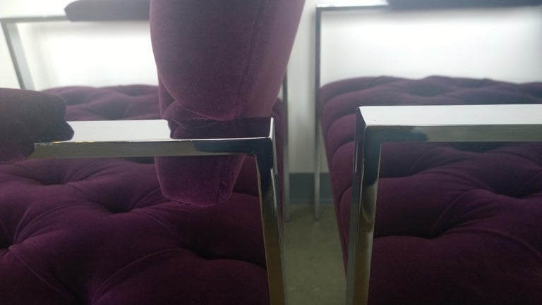 Pair of Erwin-Lambeth Chrome and New Deep Purple Velvet Tufted Arm Lounge Chairs For Sale 11