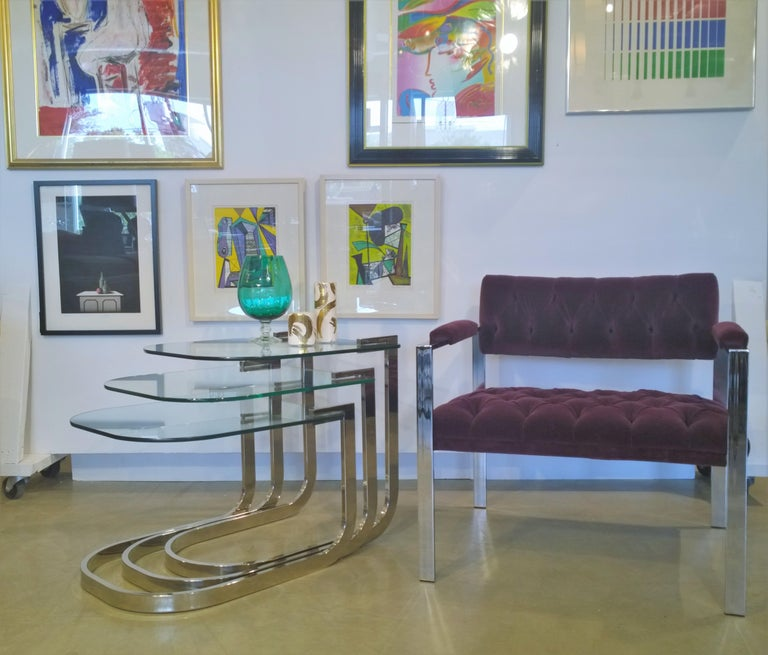 Pair of Erwin-Lambeth Chrome and New Deep Purple Velvet Tufted Arm Lounge Chairs For Sale 13