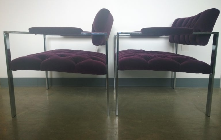 Pair of Erwin-Lambeth Chrome and New Deep Purple Velvet Tufted Arm Lounge Chairs For Sale 2