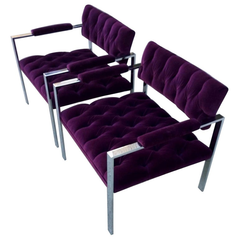 Pair of Erwin-Lambeth Chrome and New Deep Purple Velvet Tufted Arm Lounge Chairs For Sale