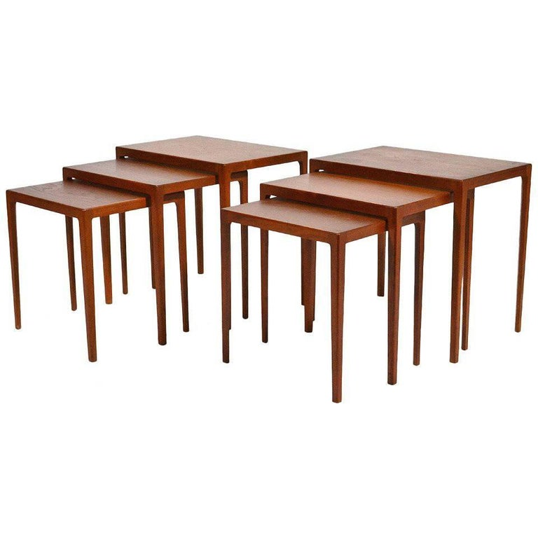 Pair of Eske Kristensen Teak Nesting Tables by Ludwig Pontoppidan